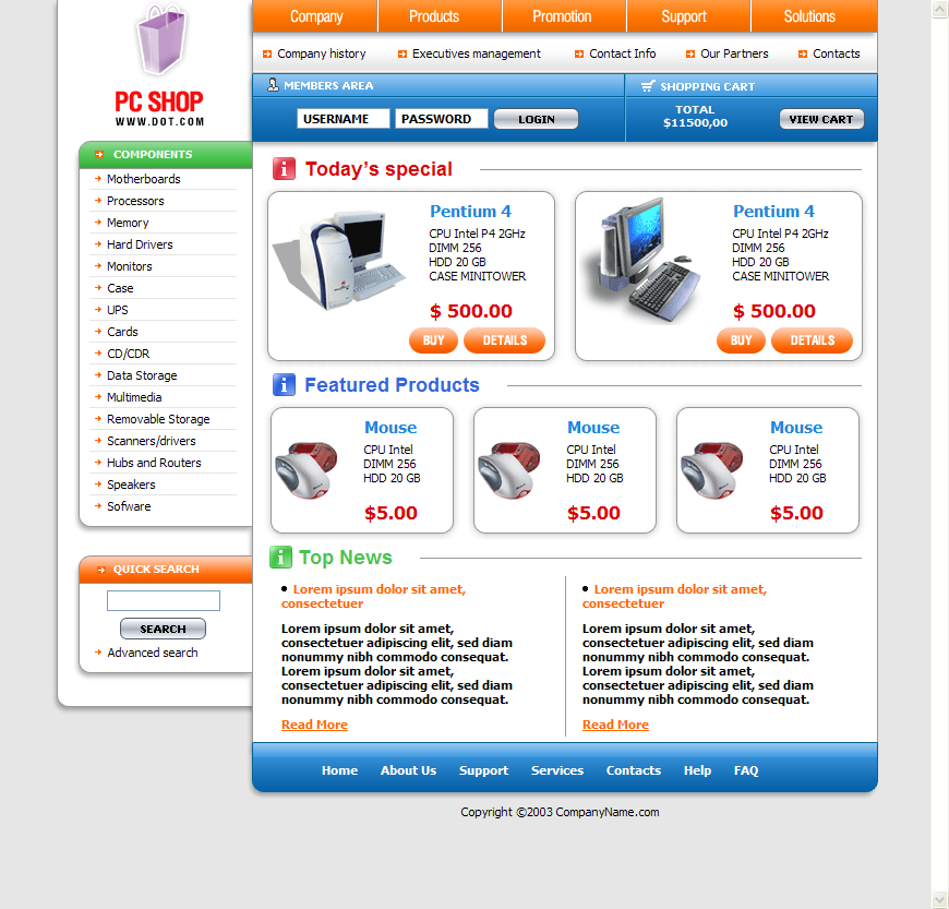 free computer store web template design download